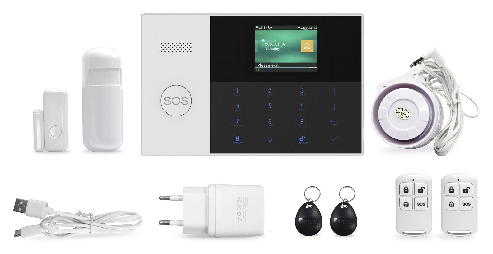 Bezdrátový domovní GSM alarm s Wi-Fi, GSM telefonem a SOS voláním HG-240-EN