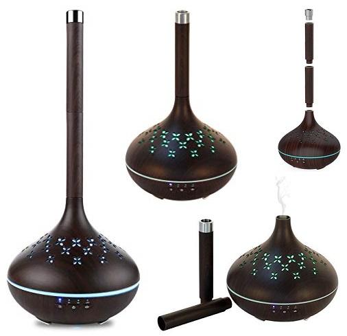 Smart Aroma difuzer Hütermann A13 tmavý - dálkově ovládaný přes wifi, s nastavitelnou výškou hrdla