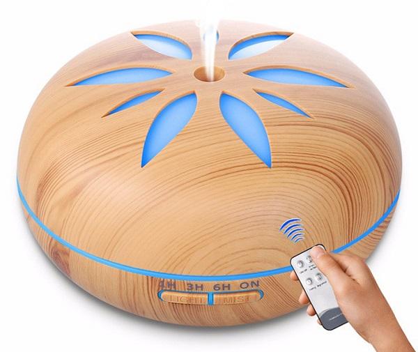Aroma difuzér  Y02 světlé dřevo - ultrazvukový, 7 barev LED, dálkové ovládání