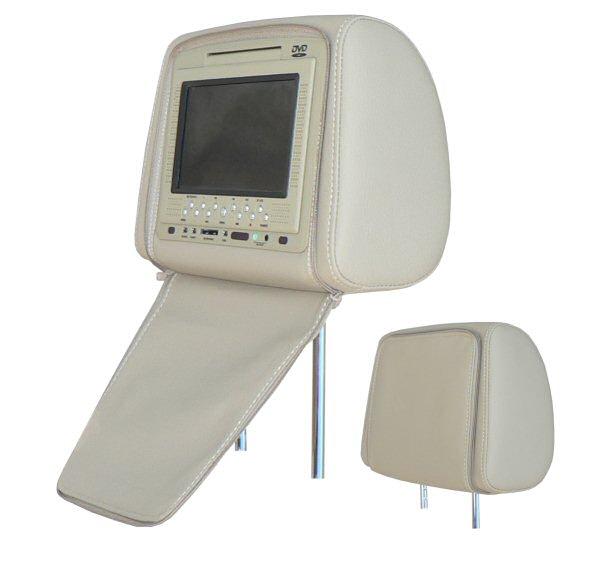 Hlavová opěrka se 7' LCD a DVD přehrávačem CARDVD07, USB port, SD slot, GAME béžová