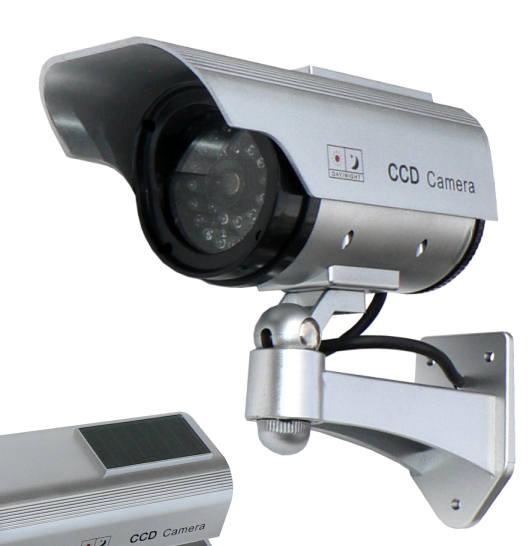 Kamera - atrapa venkovní kamery se solárním panelem maketa s blikající LED DM01