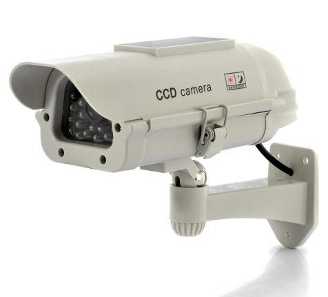 Kamera - atrapa venkovní kamery se solárním panelem maketa s blikající LED DM02